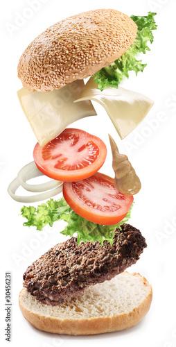 Flying ingredients of hamburger