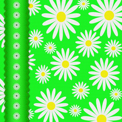 Textile flower background with the sewn  tape