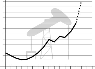 Vector soaring oil prices graph