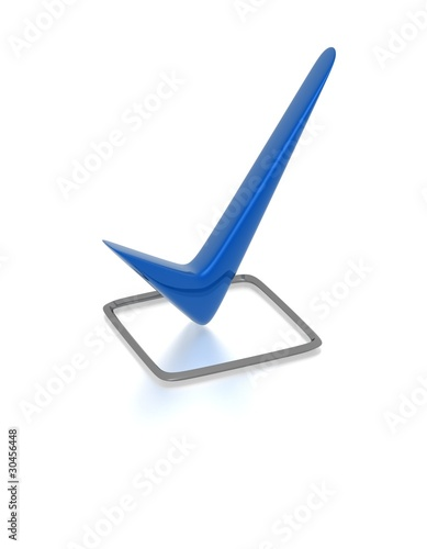 Checkbox with blue checkmark isolated on white