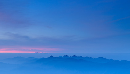 Morning Mist at Tropical Mountain Range at sunrise, Chiangmai,Th