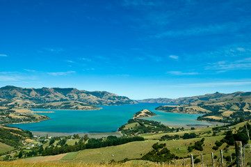 Beautiful summer day view into the Akaroa Harbour