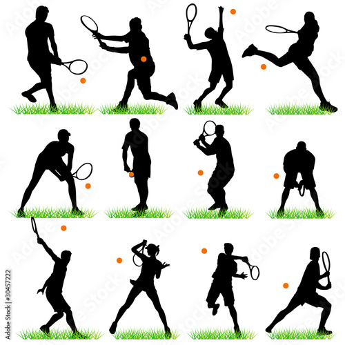 Tennis silhouettes set