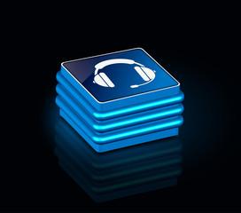 3d glossy headphones icon