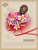 Fototapety retro party poster template with microphone and exotic flowers