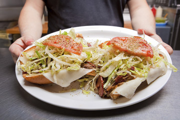 Hoagie Open Faced Submarine Sandwich on a plate