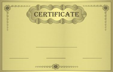 Certificate gold ornament