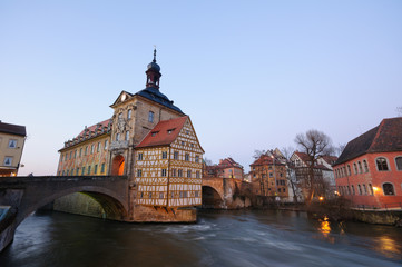 Regnitz River and Altes Rathaus - Bamberg, Germany
