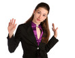 Girl in black suit deny.
