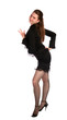 Girl in black suit dancing.