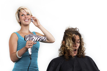 Distracted hairdresser