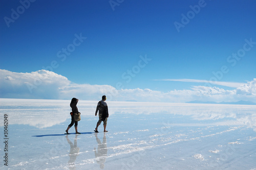 Uyuni salt lake and couple