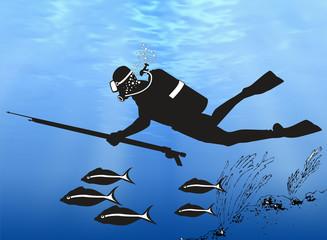 Buzo en las profundidades del océano