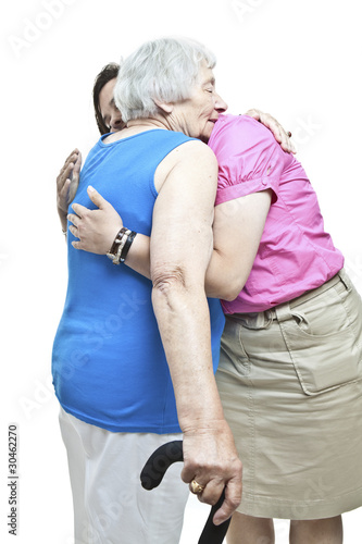 Hugging a senior