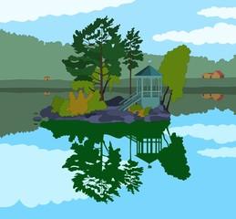 Beautiful Little Island in a Lake