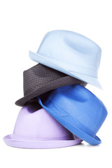 Stack of modern hats | Isolated