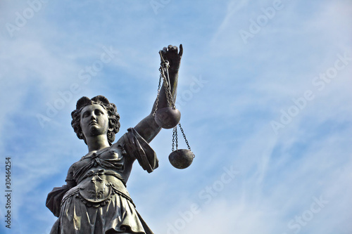 Statue of Lady Justice in front of the Romer