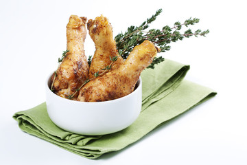 Roasted chicken legs with thyme