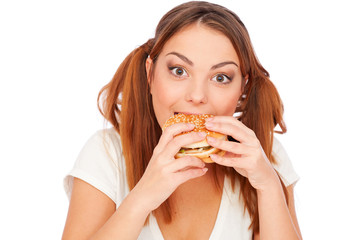 woman with burger. isolated on white
