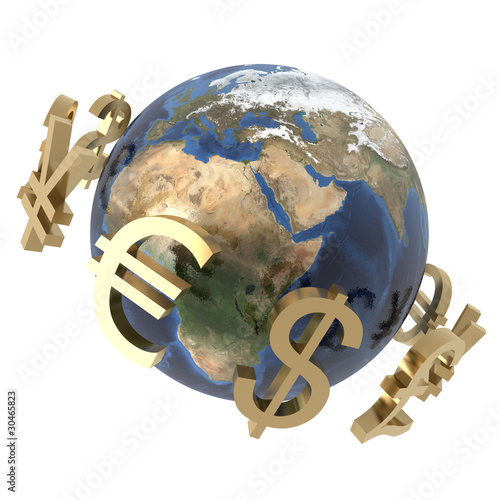 3d currencies around the word isolated on white