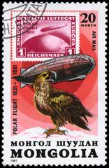 MONGOLIA - CIRCA 1981 Graf Zeppelin and Sea Eagle