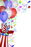 Uncle Sam Hat with Fireworks and Balloons poster