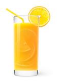 Isolated drink. Glass of orange juice with peaces of orange inside isolated on white background