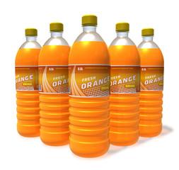 Set of orange drinks in plastic bottles