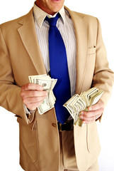 Body part man in suit with hundred dollar bills