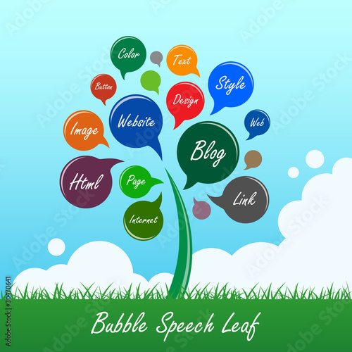 Bubble Speech Tree Balloon Leaf Flower