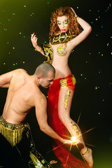 pair of dancers with python