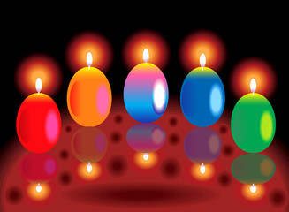 colorful glossy burning candles