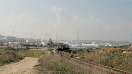 Train leaving from Lagos in Portugal