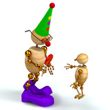 3d wood man clown with kid