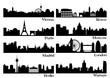 European metropolis silhouettes