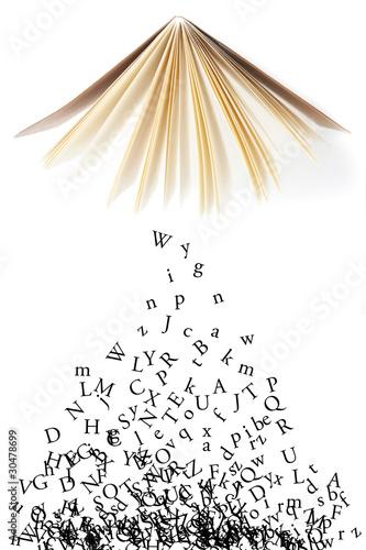 Buchstaben fallen aus einem Buch