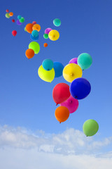 lots of coloured balloons flying into the sky