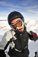 man winter snow ski