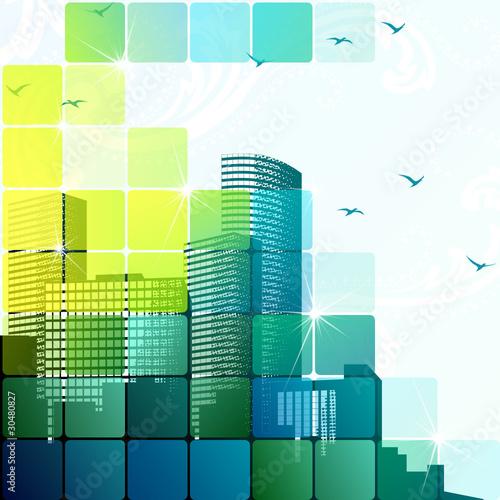 Dynamic cityscape in green