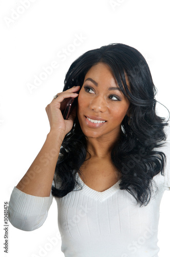 African American Woman chatting on the phone