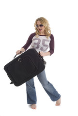 Woman carrying suitcase