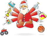 Santa Claus flying like yoga and like Shiva is very generous