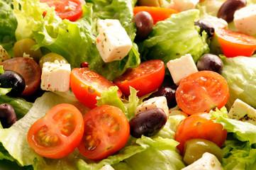 Salade, verte,composée,tomates,olives,fetas