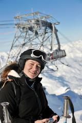 woman winter snow skiwoman skiing on fresh snow at winter season
