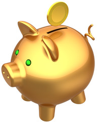 Piggy bank total golden with a coin over it. Wealth concept