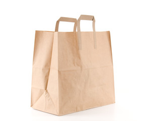 Recycled shopping bag isolated on white background.