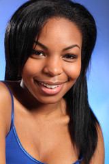 Headshot of happy young black girl great smile