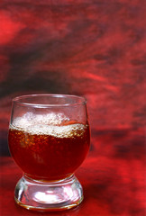 alcohol drink is in a glass