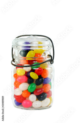 Mason Jar of Jelly Beans on White