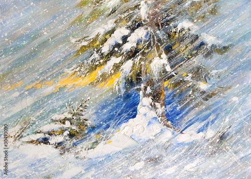 jodla-w-sniegu-obraz-narysowany-olejem